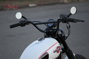 Burly Scrambler Bars - on bike